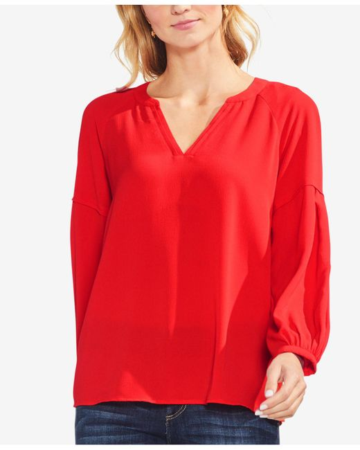 Vince Camuto - Red Bubble Sleeve Crepe Blouse - Lyst