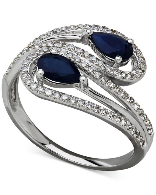 Macy's - Metallic Sapphire (1 Ct. T.w.) And Diamond (1/3 Ct. T.w.) Bypass Ring In 14k White Gold - Lyst
