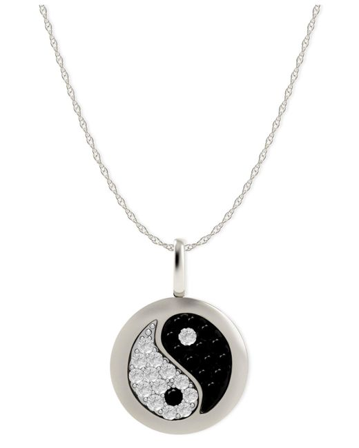 Macy's - Diamond Yin Yang Disk Pendant Necklace In 14k White Gold (1/10 Ct. T.w.) - Lyst