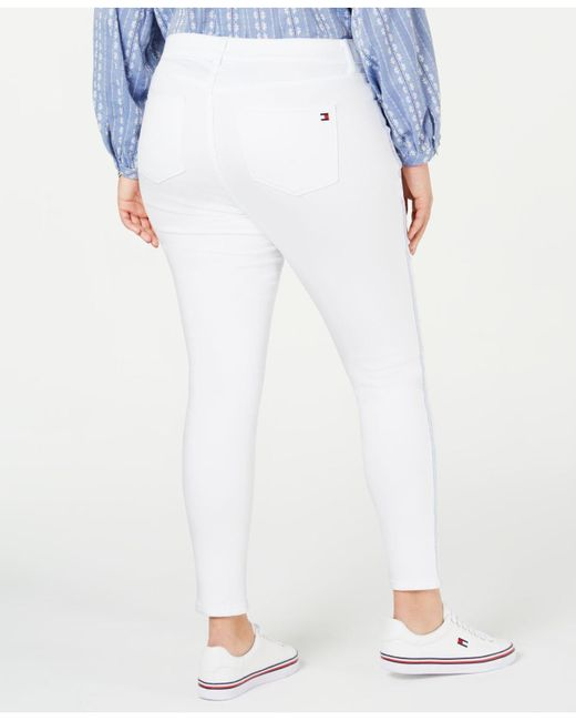 7174905c ... Tommy Hilfiger - White Plus Size Bedford Side-stripe Skinny Jeans,  Created For Macy's ...