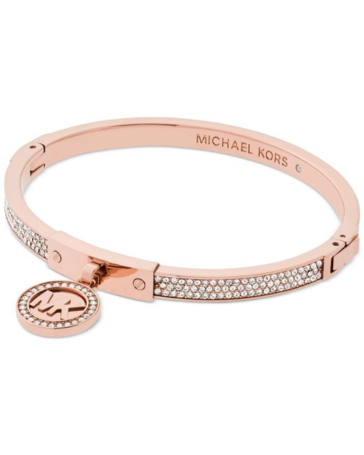 Michael Kors - Pink Logo Pavé Hinged Bangle Bracelet - Lyst
