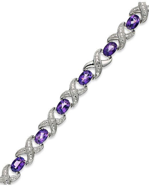 Macy's - Metallic Amethyst (6-1/2 Ct. T.w.) And Diamond Accent Xo Bracelet In Sterling Silver - Lyst