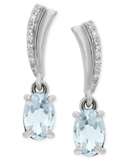 Macy's | Metallic Aquamarine (3/4 Ct. T.w.) And Diamond Accent Drop Earrings In 14k White Gold | Lyst
