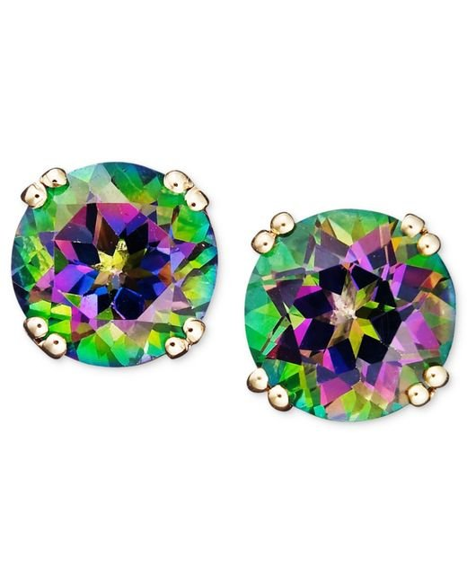 Macy's | Metallic 14k Gold Earrings, Mystic Topaz Studs (4-1/2 Ct. T.w.) | Lyst