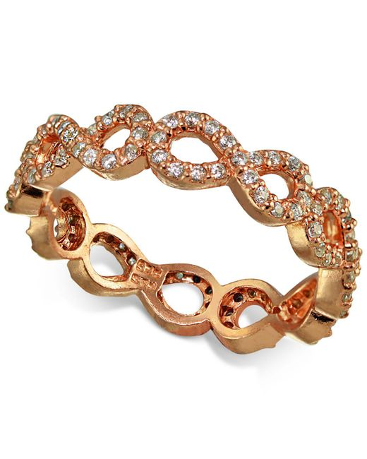 Giani Bernini | Metallic Cubic Zirconia Pavé Infinity Ring In 18k Rose Gold-plated Sterling Silver | Lyst