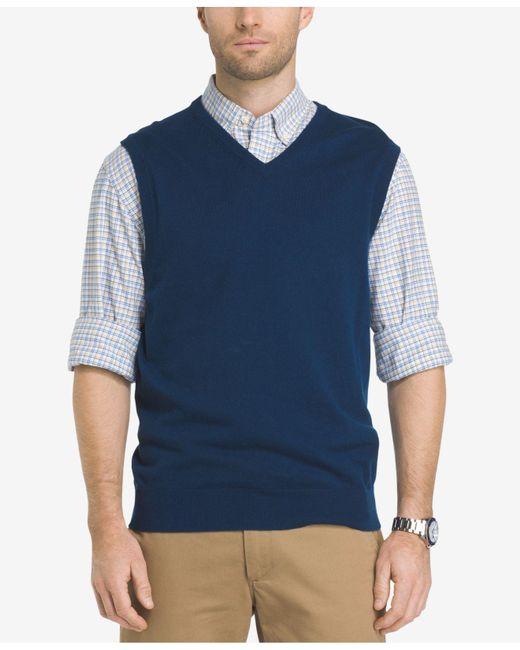 Izod | Blue Men's Fieldhouse Sweater Vest for Men | Lyst