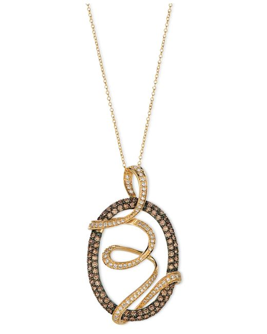 Le Vian | Brown Chocolate Diamond And White Diamond Oval Wrap Pendant (1-3/4 Ct. T.w.) In 14k Gold | Lyst