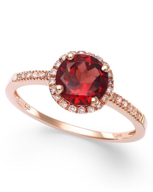 Macy's - Multicolor Garnet (1-3/8 Ct. T.w.) And Diamond (1/8 Ct. T.w.) Ring In 14k Rose Gold - Lyst