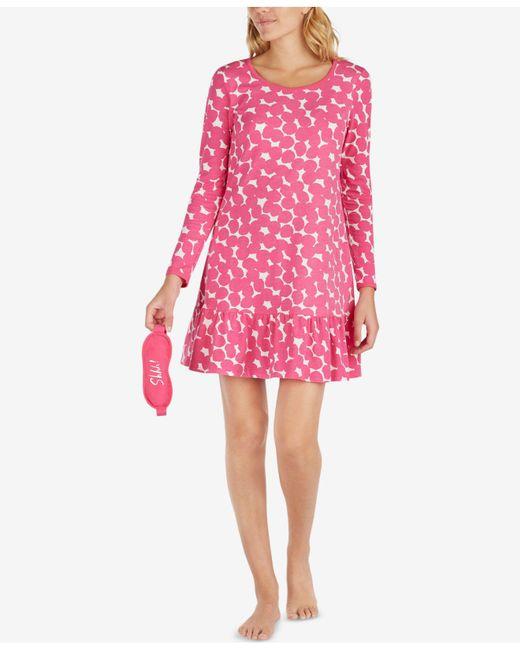 Kate Spade | Pink Ruffled-hem Sleepshirt With Eye Mask | Lyst