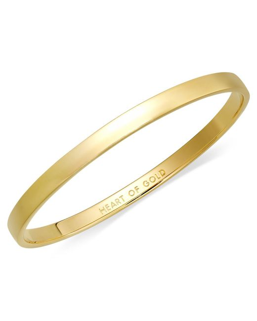 Kate Spade | Metallic Bracelet, 12k Gold-plated Heart Of Gold Idiom Bangle Bracelet | Lyst
