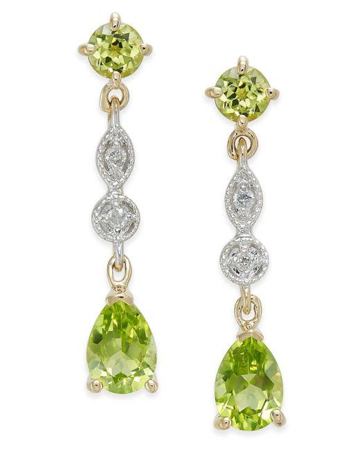Macy's | Multicolor Peridot (2-1/3 Ct. T.w.) & Diamond Accent Drop Earrings In 14k Gold | Lyst