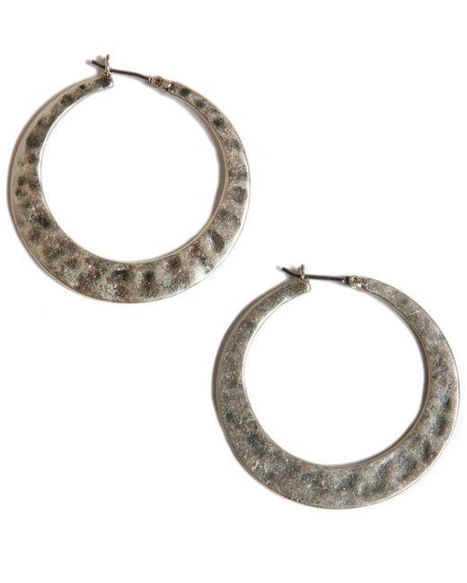 Lucky Brand | Metallic Earrings, Large Twisted Silver-tone Hoop | Lyst
