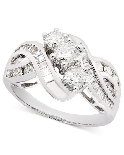 Macy's | Metallic Three-stone Diamond Braid Ring In 14k Gold (1 Ct. T.w.) | Lyst