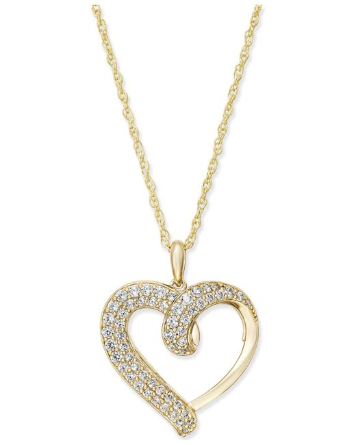 Macy's - Metallic Diamond Heart Pendant Necklace (1/2 Ct. T.w.) In 14k Gold Or White Gold - Lyst
