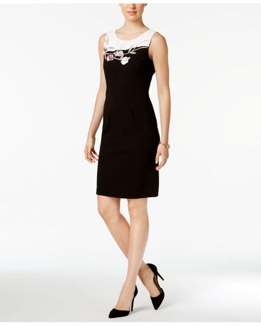 Ivanka Trump | Black Embroidered Contrast Scuba Sheath Dress | Lyst