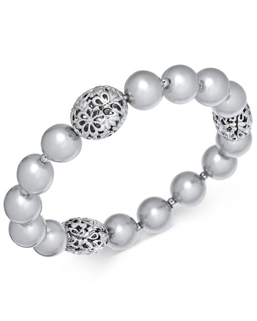 Charter Club - Metallic Large Bead & Imitation Pearl Stretch Bracelet, Created For Macy's - Lyst