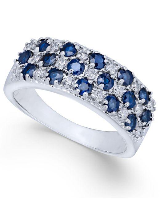 Macy's - Blue Sapphire (1-5/8 Ct. T.w.) & Diamond (1/3 Ct. T.w.) Ring In 14k White Gold - Lyst