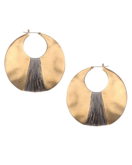 Kenneth Cole   Metallic Earrings, Gold-tone Shell Drop Hoop   Lyst