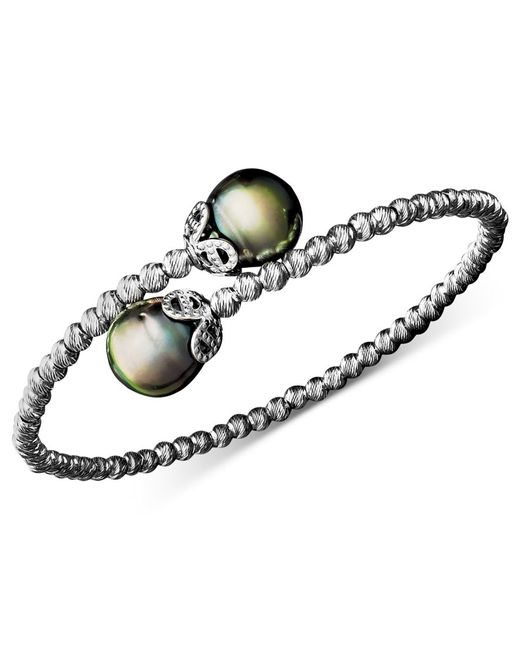 Macy's | Green Pearl Bracelet, Sterling Silver Cultured Tahitian Pearl (9mm) And Sparkle Bead Cuff | Lyst