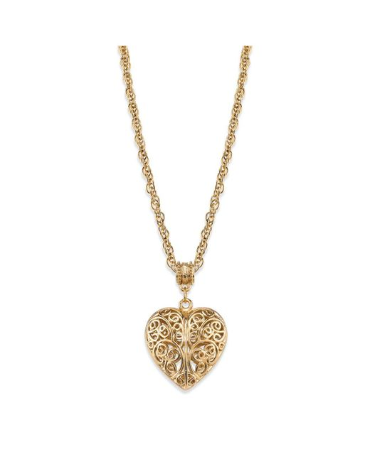 """2028 - Metallic 14k Gold-dipped Filigree Heart With Swarovski Crystal Accent Necklace 18"""" - Lyst"""