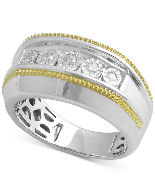 Macy's - Metallic Diamond Two-tone Ring (1/5 Ct. T.w.) In Sterling Silver & 14k Gold-plate - Lyst