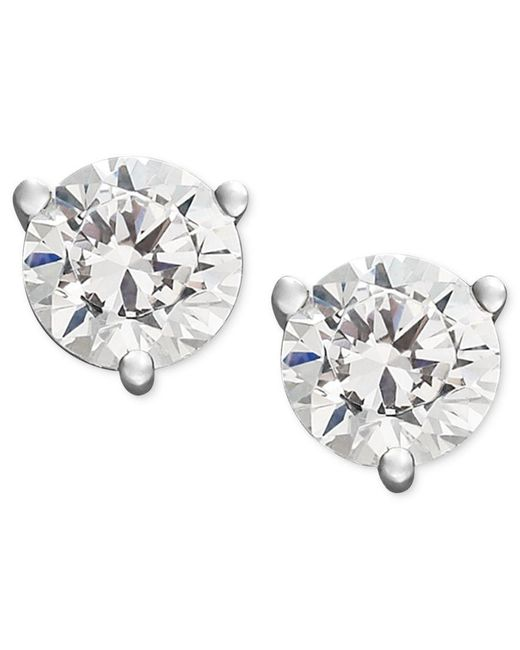 Macy's | Multicolor Certified Near Colorless Diamond Stud Earrings In 18k White Gold Or Gold (1/4 Ct. T.w.) | Lyst