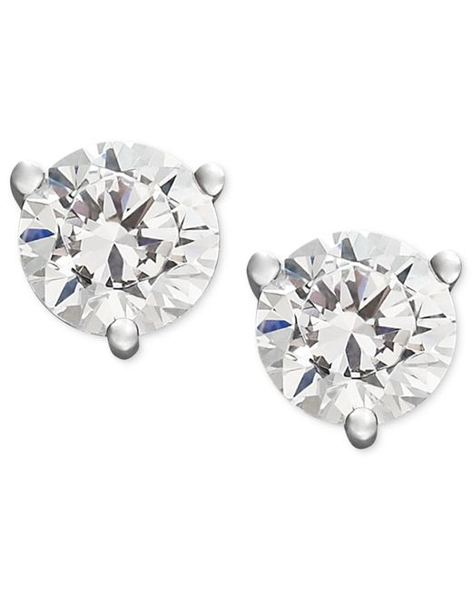Macy's | Metallic Near Colorless Certified Diamond Stud Earrings In 18k White Or Yellow Gold (3/4 Ct. T.w.) | Lyst