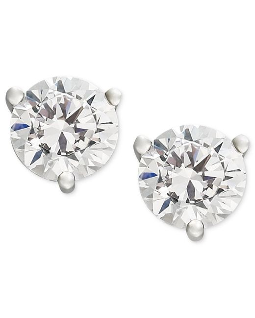 Macy's | Metallic Near Colorless Certified Diamond Stud Earrings In 18k White Or Yellow Gold (1 Ct. T.w.) | Lyst