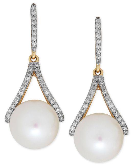 Macy's - Metallic Freshwater Pearl (9mm) And Diamond (1/5 Ct. T.w.) Drop Earrings In 14k Gold - Lyst
