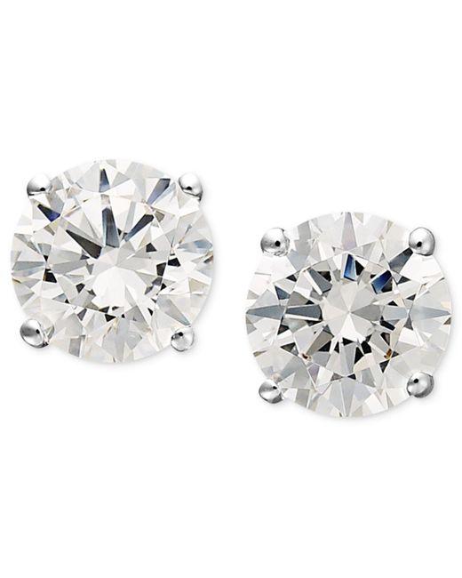Arabella | 14k White Gold Earrings, Swarovski Zirconia Round Stud Earrings (1-3/4 Ct. T.w.) | Lyst