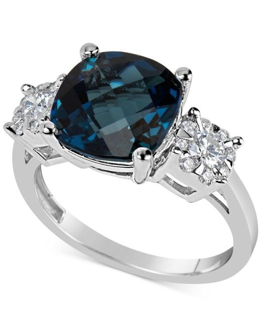 Macy's - London Blue Topaz (5 Ct. T.w.) & Diamond (1/3 Ct. T.w.) Ring In 14k White Gold - Lyst