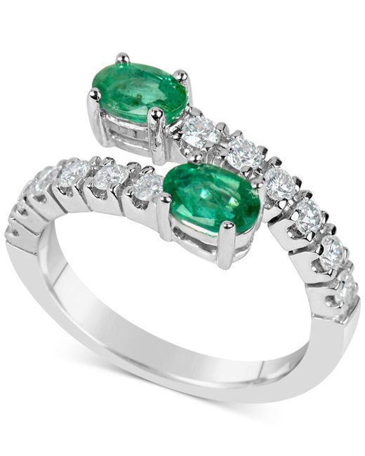 Macy's | Metallic Emerald (1 Ct. T.w.) And Diamond (1/2 Ct. T.w.) Bypass Ring In 14k White Gold | Lyst