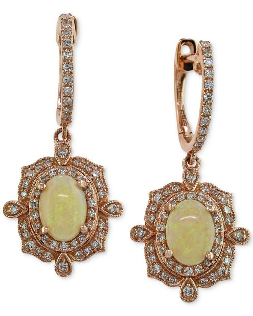 Effy Collection - Yellow Effy Opal (9/10 Ct. T.w.) And Diamond (3/8 Ct. T.w.) Drop Earrings In 14k Rose Gold - Lyst