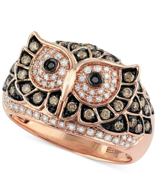 Effy Collection - Metallic White And Brown Diamond Owl Ring (3/4 Ct. T.w.) In 14k Rose Gold - Lyst