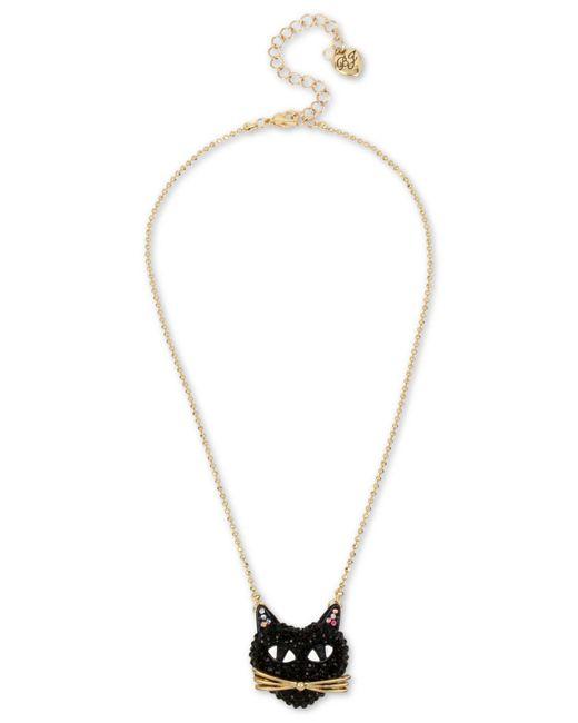 Betsey Johnson - Metallic Two-tone Black Cat Pavé Pendant Necklace - Lyst