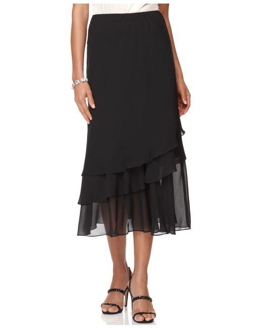 Alex evenings Skirt, Tiered Chiffon Midi in Black