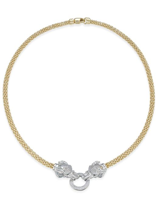 Macy's - Metallic Diamond (5/8 Ct. T.w.) Pavé And Emerald Accent Elephant Mesh Necklace In 14k Gold-plated Sterling Silver - Lyst
