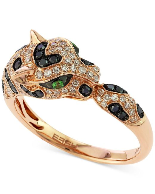 Effy Collection - Metallic Diamond (1/2 Ct. T.w.) And Emerald Accent Panther Ring In 14k Rose Gold - Lyst
