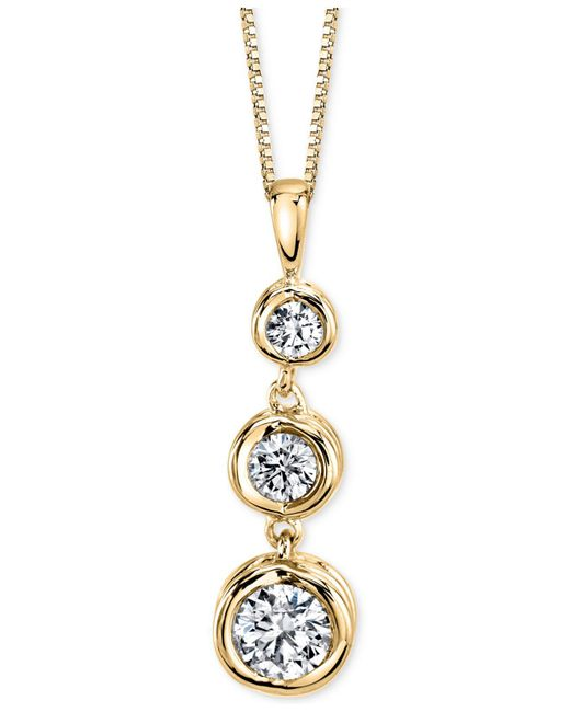 Sirena - Metallic Diamond Drop Pendant Necklace (1/2 Ct. T.w.) In 14k Gold Or White Gold - Lyst