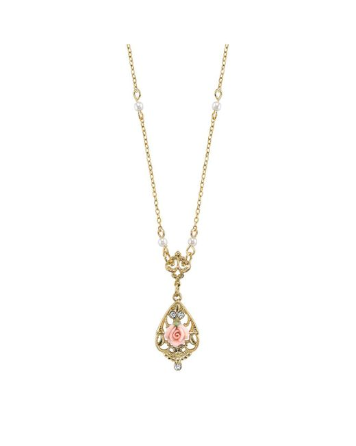 "2028 - Metallic Gold-tone Crystal And Pink Porcelain Rose Simulated Pearl Necklace 17"" - Lyst"