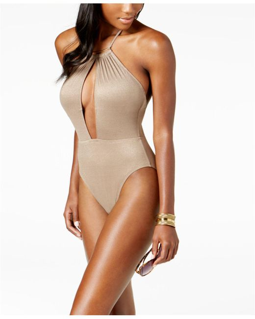 Kenneth Cole - Brown Metallic Tummy-control Halter One-piece Swimsuit - Lyst