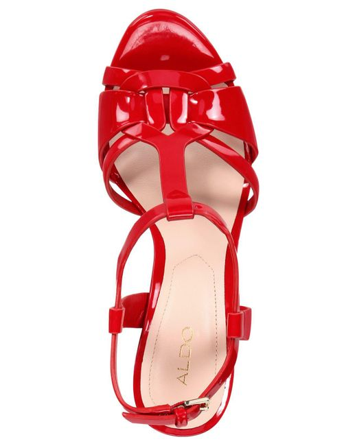 b94b5a46e83 ... ALDO - Red Chelly Platform Dress Sandals - Lyst ...