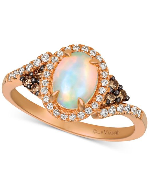 Le Vian - Metallic ® Neopolitan Opal (5/8 Ct. T.w.), Chocolate Diamond (1/10 Ct. T.w.) And Vanilla Diamond (1/6 Ct. T.w.) Ring In 14k Rose Gold - Lyst