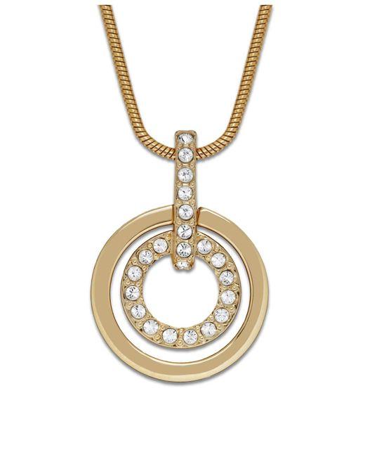 Swarovski   Metallic Necklace, Gold-tone Double Circle Crystal Pendant   Lyst