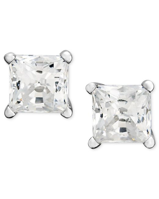 Macy's | Metallic Diamond Earrings, 14k White Gold Princess Cut Diamond Studs (1 Ct. T.w.) | Lyst