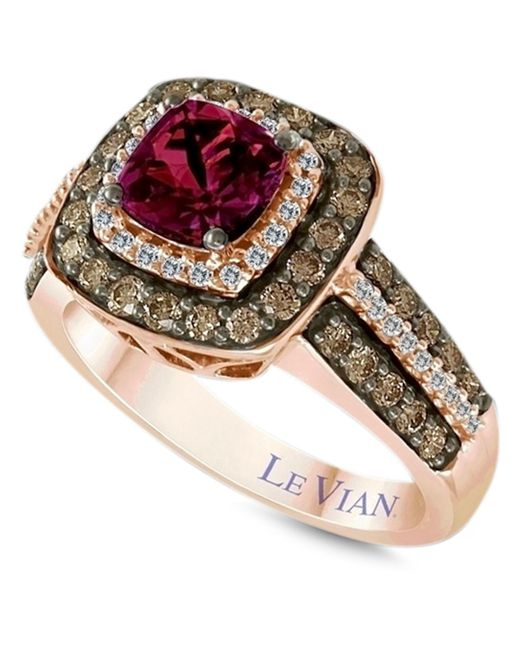 Le Vian | Red Garnet (1 Ct. T.w.) And White And Chocolate Diamond (3/4 Ct. T.w.) Square Statement Ring In 14k Rose Gold | Lyst