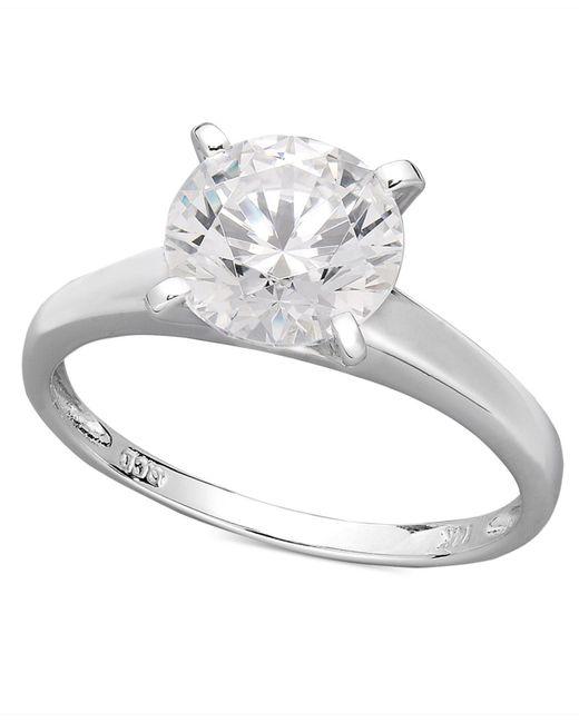 Arabella | Metallic 14k White Gold Ring, Swarovski Zirconia Solitaire Engagement Ring (3-1/3 Ct. T.w.) | Lyst