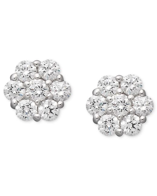 Arabella | 14k White Gold Earrings, Swarovski Zirconia Cluster Stud Earrings (1-5/8 Ct. T.w.) | Lyst