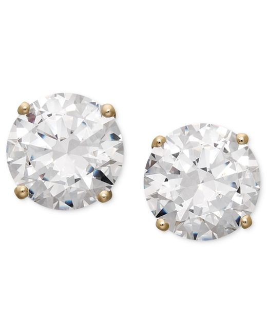 Arabella | Metallic 14k Gold Earrings, Swarovski Zirconia Round Stud Earrings (3-1/2 Ct. T.w.) | Lyst