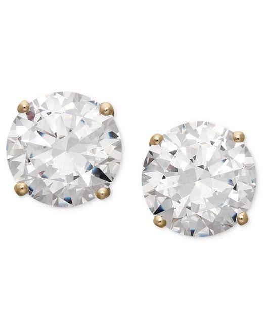 Arabella | White 14k Gold Earrings, Swarovski Zirconia Round Stud Earrings (3-1/2 Ct. T.w.) | Lyst